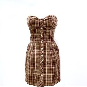 Guess Plaid Strapless Dress